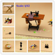 1:12 Dollhouse Miniatures Sewing Room Set Foot Peddle Sewing Machine